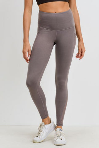 Highwaist Splice Mesh Pocket Leggings in Mocha