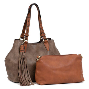 Large 2-in-1 Tassel Satchel in Chocolate