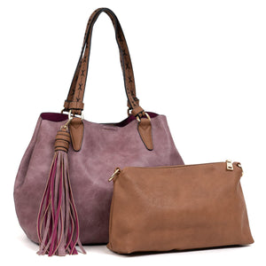 Large 2-in-1 Tassel Satchel in Violet