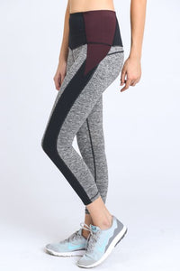 High Waist Colorblock Contrast Capri Leggings in Gray