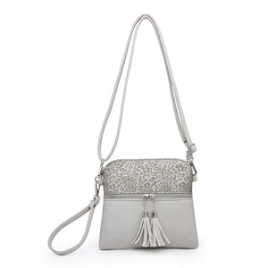 Cheetah Print Crossbody in Dark Silver