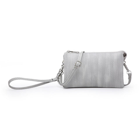 Herringbone Compartment Wristlet/Crossbody in Light Lavender