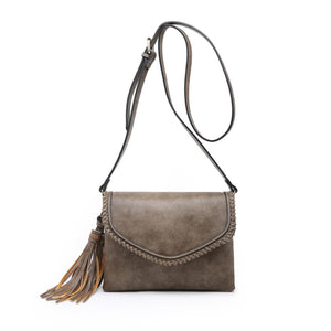Flapover Whipstitch Tassel Crossbody in Coffee