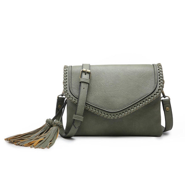 Flapover Whipstitch Tassel Crossbody in Olive