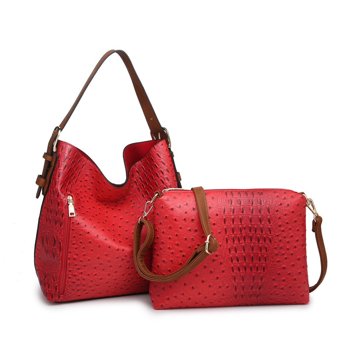 Textured Hobo Bag in a Bag in Red