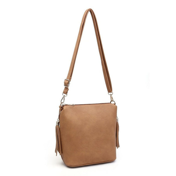 Double Tassel Crossbody in Tan