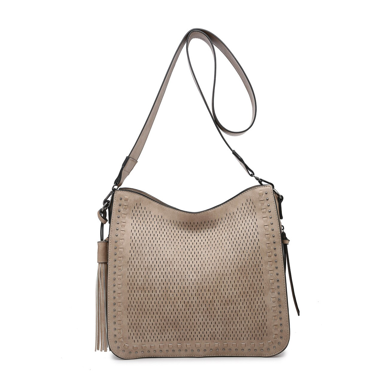 Laser Cut Studded Crossbody in Sand