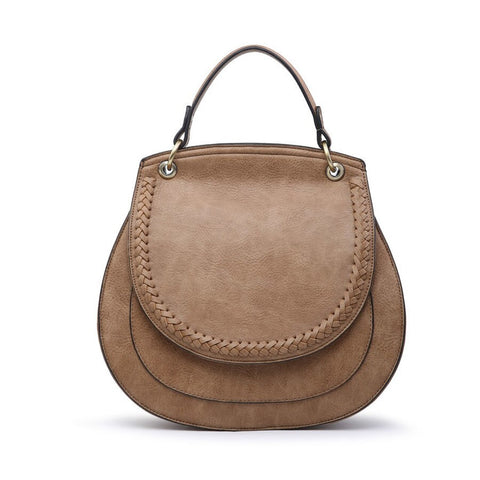 Monogrammable Saddle Bag in Taupe