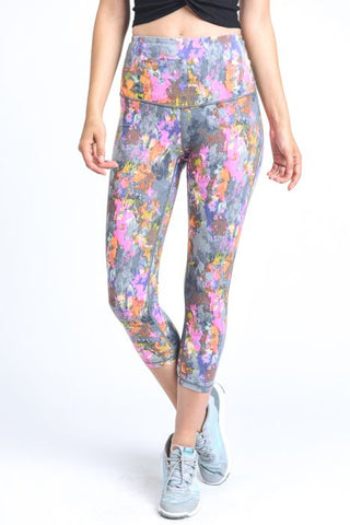High Waist Psychadelic Splatter Print Capri Leggings