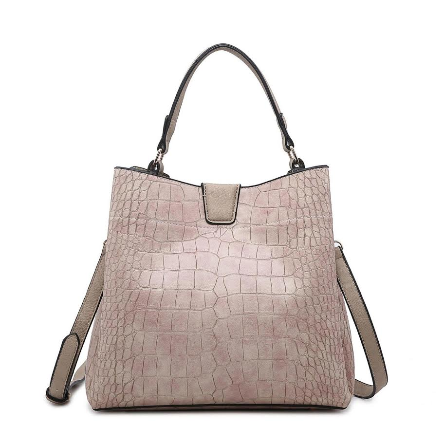 Hobo Bag in Croc Pink