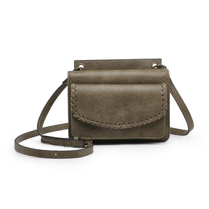 "Crossbody/Wallet with Whipstitch Detail in Olive ""RFID PROTECTED"""