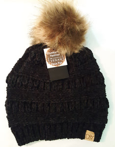 David and Young Chenille Pom Knit Beanie in Black