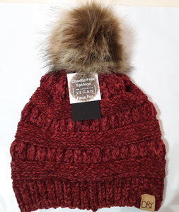 David and Young Chenille Pom Knit Beanie in Burgundy