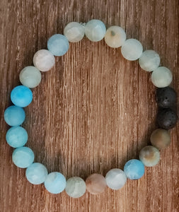 Natural Lava Bead Diffuser Bracelet in Cool Blue