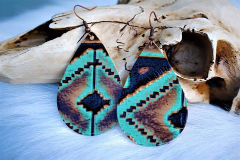 Navajo Aztec Tribal Chunky Embossed Teardrop Cowhide Leather Earrings in Teal