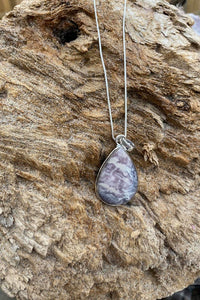 Porcelain Jasper Teardrop Pendant Necklace in Light Purple