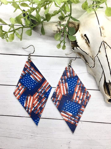 Distressed Flag Diamond Faux Leather Earrings in Blue