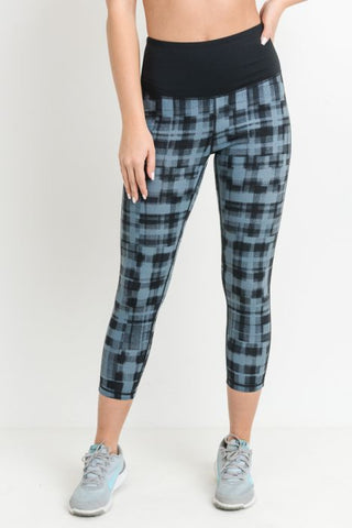 High Waist Dotted Plaid Capri Strap Leggings in Black
