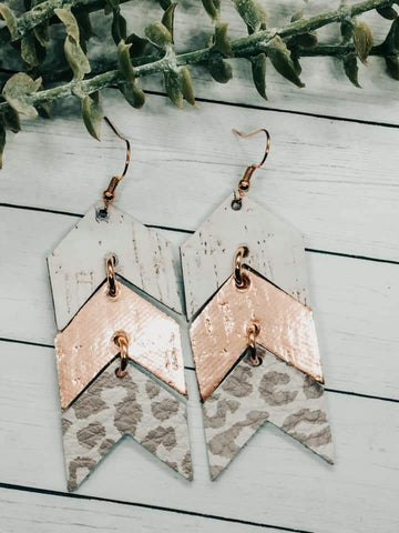 Genuine Leather Arrow Earrings in Leopard, Metallic Rose Gold & White Cork