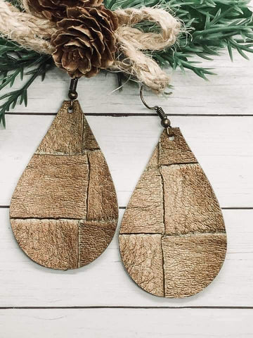 Shimmery Basketweave Faux Leather Teardrop Earrings in Bronze