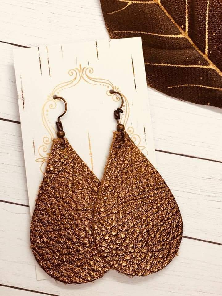 Metallic Genuine Leather Teardrop Earrings in Bronze