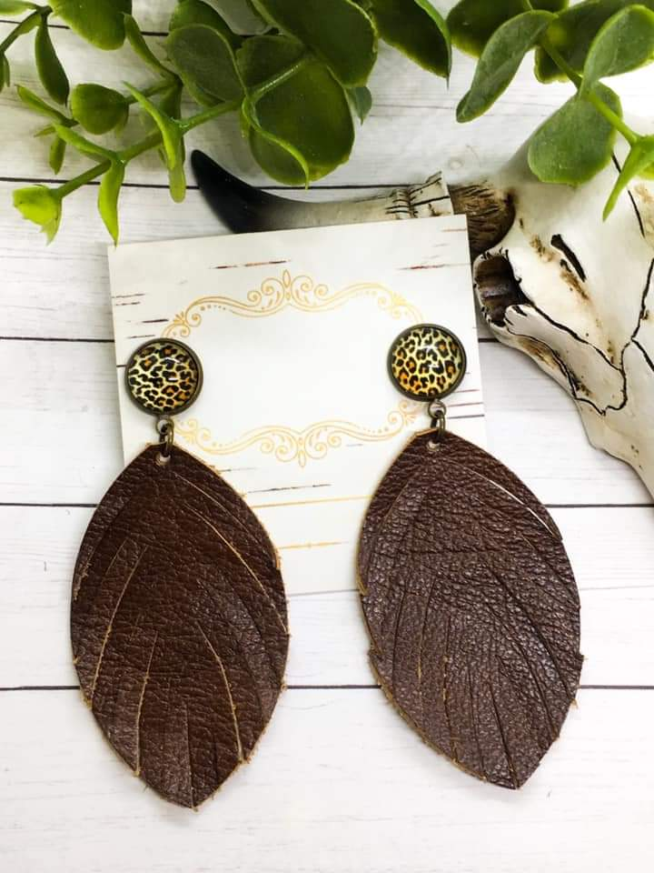 Genuine Leather Fringe Feather Leopard Stud Earrings in Whiskey Brown