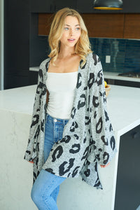 Cheetah Print Cardigan in Gray