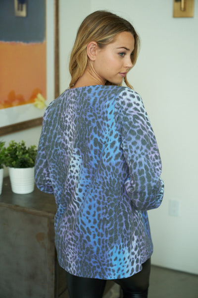 Criss Cross Leopard Print Top in Blue/Purple