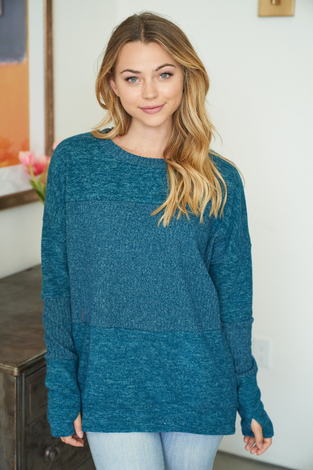 Long Sleeve Knit Top in Teal Green