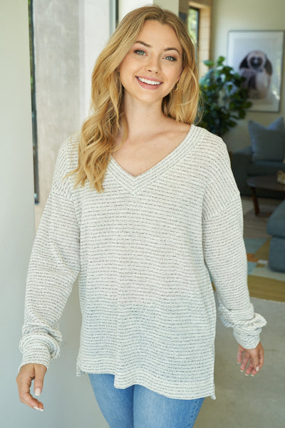 Striped V-Neck Knit Sweater in Ivory