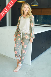 Loungewear Floral Set in Olive