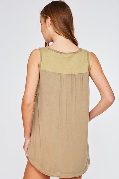 Waffle Knit Tank Top in Avocado