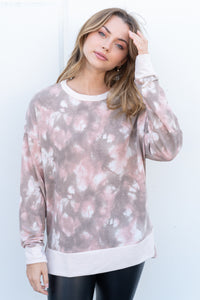 Tie Dye Knit Sweater in Blush & Brown