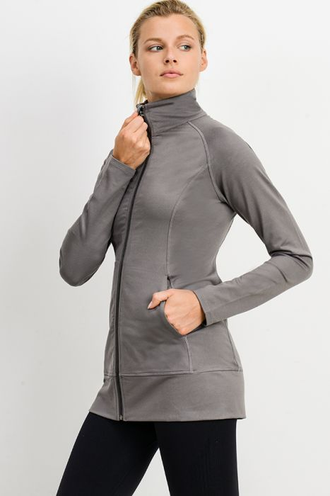High Neck Active Jacket in Medium Gray