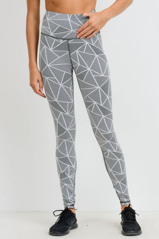 Jacquard Mosaic Print Highwaist Leggings Black & White