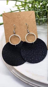 Gina Style Genuine Leather Earrings in Black