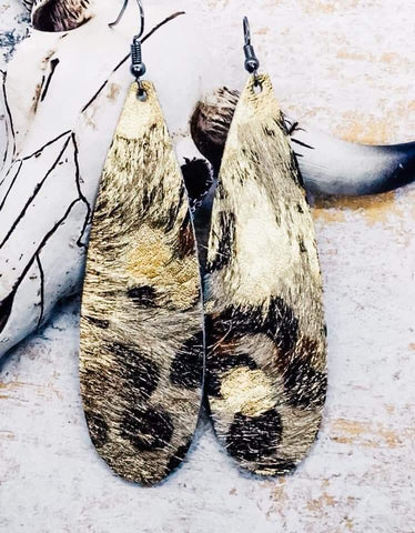 Metallic Gold Foil Acid Washed Genuine Hair on Leopard Print Long Teardrop Earrings