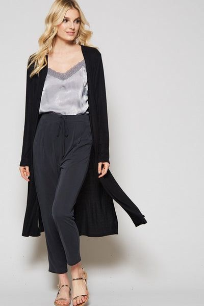 Long Front Duster Cardigan in Black