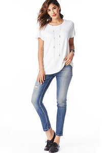 Short Sleeve Round Neck Boyfriend Top in Ivory