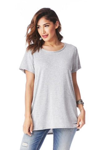 Boyfriend Top in Heathered Gray