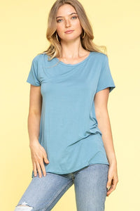 Modal Short Sleeve Top in Blue