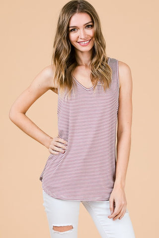 V-Neck Striped Tank Top in Mauve