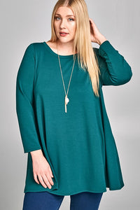 French Terry Tunic Top in Hunter Green