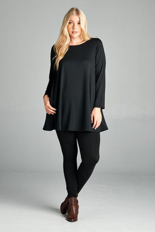 French Terry Tunic Top in Black
