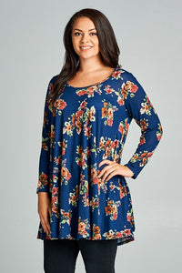 Floral Brushed Babydoll Tunic Dress in Navy
