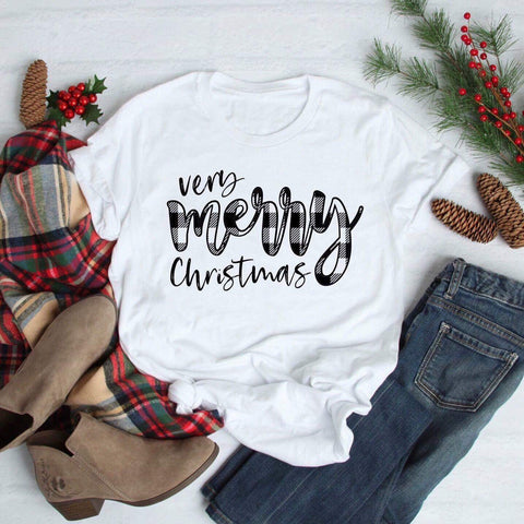 Very Merry Christmas Black Plaid Graphic Tee in White