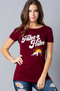 Take a Hike Graphic Tee in Burgundy
