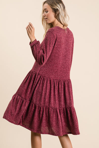 Flowy Knee Length Dress in Wine