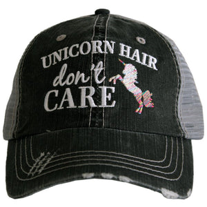 Katydid Unicorn Hair Don't Care Trucker Hat in Gray