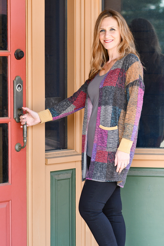 Plaid Open Cardigan in Multicolor